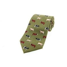 The beautiful green cow breeds tie from Tie Studio is made from silk and features different coloured cow illustration which will really brighten. Cow Illustration, Studio Green, Silk Ties, Farming, Gifts, Accessories, Beautiful, Color, Presents