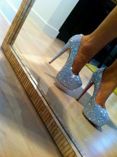 tan legs and sparkle loubs. cant think of anything more perfect