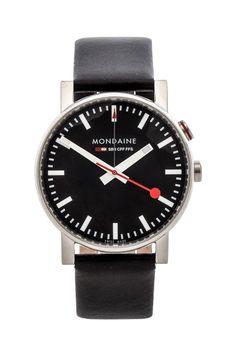 Mondaine Evo Alarm 40mm in Black & Black
