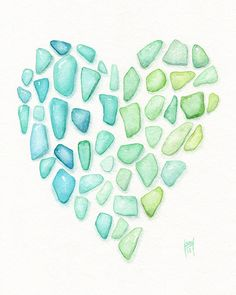 Sea glass Heart painting - love of sea/beach glass touches all parts of life.