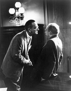 Lyndon B. Johnson (left), then Senate Majority Leader, speaking with Theodore F. Green, Chairman of the Senate Foreign Relations Committee, 1957. Photo by George Tames