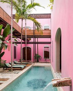 Merida's Rosas & Xocolate hotel in Yucatan is a all about romance. The intimate hotel was named after the popular lovers' gifts: roses & chocolate. Hotel Rosa, Exterior Design, Interior And Exterior, Murs Roses, Architecture, Places To Go, Beautiful Places, Beautiful Mess, Around The Worlds