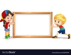 Girl and boy by the wooden frame Royalty Free Vector Image Borders For Paper, Borders And Frames, Christmas Fayre Ideas, Cartoon Template, Teacher Classroom Decorations, Powerpoint Background Design, English Lessons For Kids, School Frame, Baby Frame