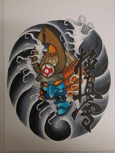 Kabuto samurai. Entintado y rotuladores
