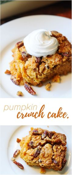 Pumpkin Crunch Cake - This is THE pumpkin crunch cake recipe that you've been looking for. I just made these and trust me, they are out of this world. One of those pumpkin dessert recipes you'll pass down to your kids!