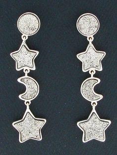 Sterling Silver & Druzy, Sun Moon & Stars Navajo Dangle Earrings