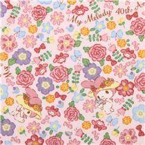 Tela laminada rosa claro conejita My Melody rosas jardín de Sanrio Japón