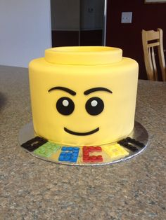 Lego Head Cake                                                                                                                                                                                 More Custom Birthday Cakes, My Birthday Cake, Lego Birthday Party, Boy Birthday, Birthday Parties, Lego Head Cake, Lego Cake, Star Wars Cake, Star Wars Party