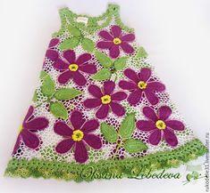 Купить Платье летнее для девочки вязаное крючком из хлопка Цветущий Клематис - ирландское кружево