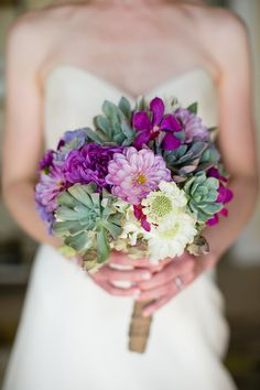 purple and succulent bouquet | Orbie Pullen Photography | Glamour & Grace