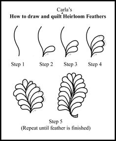 How to quilt Various Feathers, etc. | Feathered Fibers - printable page to practice drawing them