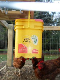homemade waterer. We love these because the water stays CLEAN!  Also, each nipple is just a couple of dollars, so the cost is another perk! Just drill a small starter hole in the bottom of just about any container and screw in the nipples!