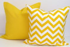 YELLOW PILLOW SET.18x18 inch.Pillow Covers.Printed Fabric Front and Back.Geometric.Solid.Chevron.Pillows.Housewares.Home Decor.Cushions.cm