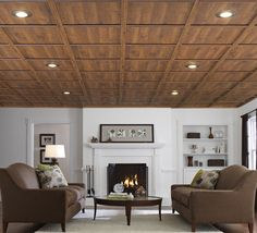 Sauder makes a drop ceiling out of wood.  It's BEAUTIFUL!!