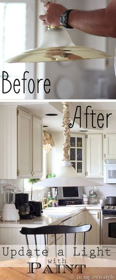 How to Update a Brass Light Fixture with Spray Paint
