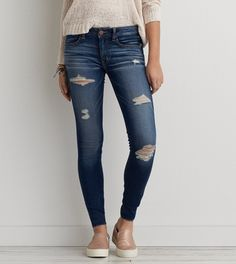 Bright Indigo Destroyed Jegging - American Eagle Outfitters http://davihadara.com/
