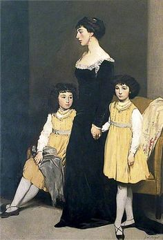 Mrs Basil Fothergill and Her Two Daughters by Glyn Warren Philpot      Date painted: c.1911     Oil on canvas, 198 x 137 cm