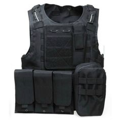 Ex Police Black Molle Body Armour Cover With Reflective Strips Security
