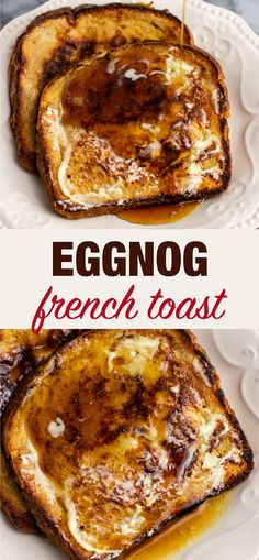 Easy and delicious dairy free eggnog French toast recipe. Only takes 5 minutes to prep and everyone loved it! Easy and delicious dairy free eggnog French toast recipe. Only takes 5 minutes to prep and everyone loved it! Texas Toast, Toast Pizza, Holiday Baking, Christmas Baking, Tostadas, Breakfast Party, Eggnog French Toast, Eggnog Recipe, Christmas Breakfast