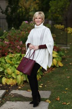 Cowl neck style poncho with the prettiest cable knit pattern. | Fabulous After 40 (scheduled via http://www.tailwindapp.com?utm_source=pinterest&utm_medium=twpin) #winterfashion2017casual