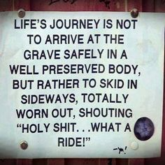 Life's journey is not to arrive at the grave safely . . .
