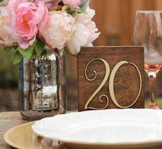 Wood Block Table Numbers for Weddings Rustic Wood por JimboGee