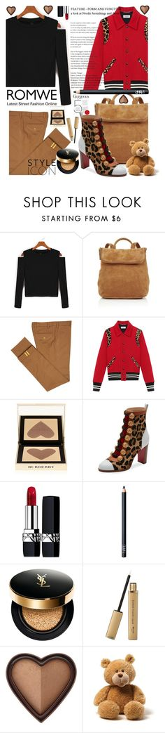 """""""ROMWE: CROP T-SHIRT"""" by anin-kutak ❤ liked on Polyvore featuring Whistles, Diverso, Yves Saint Laurent, Burberry, Christian Louboutin, Christian Dior, NARS Cosmetics and Too Faced Cosmetics"""
