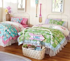 Fulton Bed   Pottery Barn Kids - love a great looking retro bed (disregard the bedding)