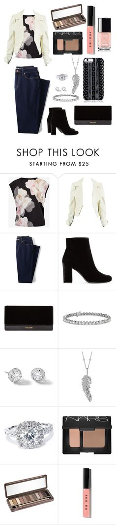 """""""Untitled #145"""" by xavierzara ❤ liked on Polyvore featuring Ted Baker, Lands' End, Yves Saint Laurent, Balmain, Blue Nile, Riviere, Penny Preville, Bliss Diamond, NARS Cosmetics and Urban Decay"""