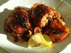 Citrónové kuře na jablcích a cibuli Pork, Meat, Lemon, Kale Stir Fry, Beef, Pork Chops