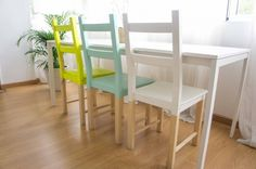 ikea ivar chairs half painted loveee it Ikea Makeover, Furniture Makeover, Home Furniture, Painted Chairs, Painted Furniture, Cheap Kitchen Chairs, Ivar Hack, Chairs For Rent, Diy Room Decor
