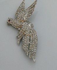 Vintage Pot Metal Rhinestone Pave Bird Brooch - Vintage Lane Jewelry - 1