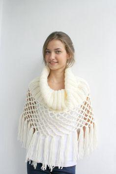 #amazing  Ivory Knit Poncho Capelet Gift under75 by denizgunes on Etsy