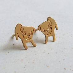 Plain Jane Pugs Gold Plated Puppy Pug Earrings ($29) ❤ liked on Polyvore featuring jewelry, earrings, stud earring set, gold plated jewellery, gold plated earrings, gold plated stud earrings and gold plated jewelry