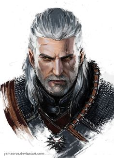 Geralt Portrait by YamaOrce, witcher, gaming, pc, inspirational, concept art, digital painting, #painting