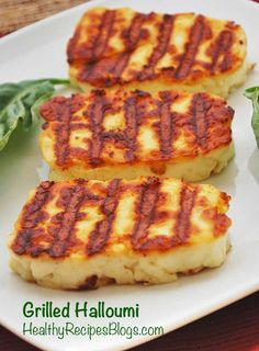 Grilled Halloumi is a delicacy. Golden brown, crispy exterior. Soft, gooey interior, and a wonderfully savory flavor. It's a magic cheese that you can grill! via @healthyrecipes