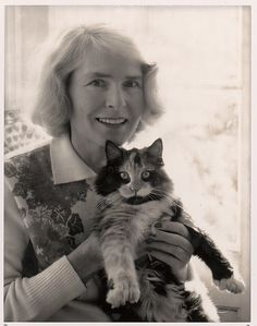 Margaret Bourke-White and Cat in Darien, Connecticut. 1964. Black and white instant print by ©Ansel Adams