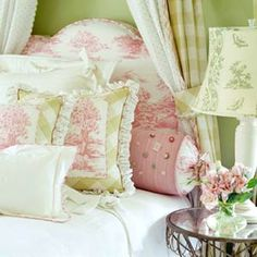 Beautiful shabby chic bedroom with pink and green French toile. Bedroom Green, Home Bedroom, Bedroom Decor, Green Bedrooms, Green Bedding, Pink Bedding, Comforter Set, Linens And Lace, Beautiful Bedrooms