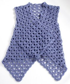 Cute open mesh crochet vest.  Looks quick to make.  Takes about 14 oz. worsted wt. yarn. Free pattern here.