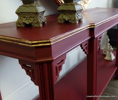 fretwork console table re-done with chalk paint® decorative paint by Annie Sloan in burgundy || creative finishes & furnishings
