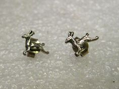 """Vintage Sterling Silver Reindeer Pierced Earrings - they are about 1/3"""" and weigh .61 grams. They are in a leaping position. Petite design. Lightweight for comfortable wearing. Great for the reindeer"""