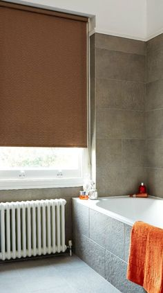 Mix different types of stone with brown, white and pops of bright natural colours to create a calming naturally inspired room. Made to measure brown roller blinds would would perfectly with this theme. Great for bathrooms and Kitchens. Patio Blinds, Outdoor Blinds, Diy Blinds, Bamboo Blinds, Fabric Blinds, Curtains With Blinds, Privacy Blinds, Blinds Ideas, Roman Blinds