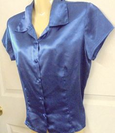 EXTRA Silky soft Button down Shirt LAVENDER Polyester Medium Cap sleeves #EXTRA #ButtonDownShirt #Casual