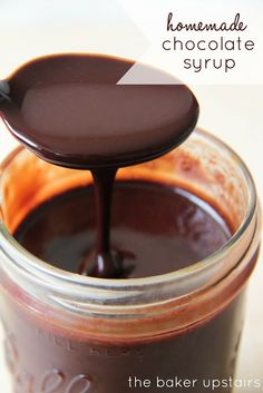 Homemade chocolate syrup from The Baker Upstairs. Luscious, rich, chocolatey syrup... and it makes the best chocolate milk ever! http://www.thebakerupstairs.com