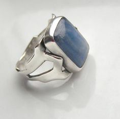 Indigo Large Blue Kyanite and Sterling Silver Ring by edhelien on Etsy