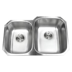 32-inch Double 40/60 Bowl 18 Gauge Undermount Stainless Steel Kitchen Sink with Basket Strainer (Large Right Bowl)