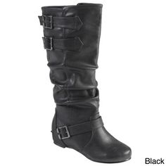 Hailey Jeans Co. Women's 'Tiffany' Round Toe Buckle Detail Boots | Overstock.com Shopping - The Best Deals on Boots