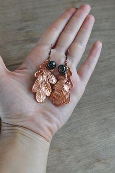 Earrings from oak leaves electroformed leaf от ChechelArt на Etsy