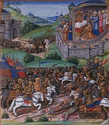 16 mai 1364 Bataille de Cocherel selon une enluminure du XVe siècle (Toison d'or de Guillaume Fillastre)