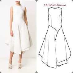 What a beautiful spring/summer dress by #ChristianSiriano Handkerchief hem bias cut sections for the skirt in lace. #designer #technicaldrawing #drawing #illustration #sewing #happyMonday Bias Cut Dress, Dress Making Patterns, Fashion Flats, Fashion Dresses, Sewing Class, Simple Dresses, Summer Dresses, Pattern Drafting, Blouse Dress